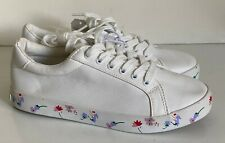 NEW! NAUTICA WOMEN'S CALERA 4 WHITE FLORAL LEATHER SNEAKERS SHOES 8.5 39 SALE