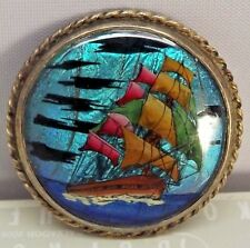 ANTIQUE VICTORIAN STERLING SILVER MORPHO BUTTERFLY WING GALLEON SHIP PIN