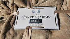 Monte & Jardin Jacquard Velvet Blanket BEIGE/Tan Queen Size. Super Soft!