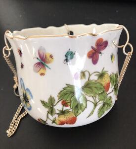 Vintage Ceramic Hanging Flower Pot Planter Butterflies & Strawberries