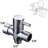 "3-Way Brass Bidet Diverter 7/8"" T-Adapter With Valve For Toilet Bidet Sprayer"