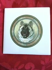 """Tile Trivet Akita Dog New Handmade Ceramic Porcelain 4.25"""" x 4.25"""" Kiln Fired"""