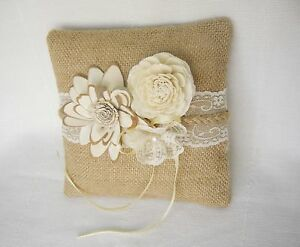 Burlap Ring Pillow with Sola flowers / Bearer pillow / Rustic
