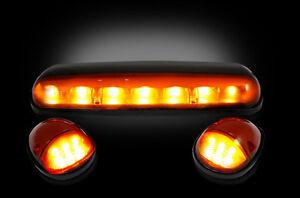 2002-2007 Silverado & Sierra Truck Black Smoked Cab Roof Lights Amber LED RECON