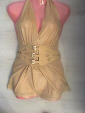 A3 Gold metallic blouse​ Top size UK 10/12 M party clubbing belted runway 2nds