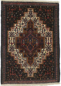 Brown Tribal Design Vintage 2X3 Small Entryway Oriental Rug Hand-Knotted Carpet