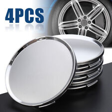 "4pc Universal 63mm 2.5"" Car Wheel Hubs Center Caps Covers No Badge Emblem Silver"