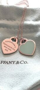 "Tiffany & Co RARE "" Medium"" Double Heart Necklace 17"" Length Approx Lovely..."