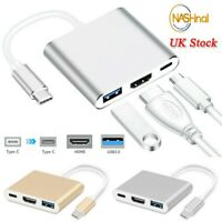 Type C to USB-C 3 in1 4K HDMI USB 3.0 Hub Adapter Cable For Macbook Samsung UK