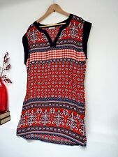 "Ladies Fab Brave Soul Red Mix Aztec Thigh Length Shift Dress Size M, Pit 22"" Vgc"