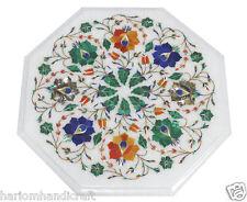 "12""x12"" Marble Center Coffee Table Top Semi Precious Gem Mosaic Inlay Work H1782"