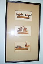 Rare Victorian Antique Cock Fighting Sporting Trio REAL Feathers Collage Picture