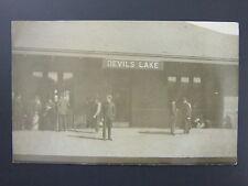 Devils Lake North Dakota ND Railroad Depot Real Photo Postcard RPPC c.1904-18