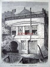 Antique Old London Engraved Print c1878 - 'The Fox-Under-the-Hill (The Strand)'