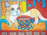 Munchkin Cat Drinking Coffee collectible ACEO PRINT Pop Art Card 2.5 X 3.5 KSams
