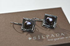 Silpada W1194 Sterling Silver Hammered Iridescent Dark Grey Pearl Earrings Rare!