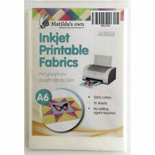 Matildas Own 10 Inkjet Printable Fabric Sheets A6 size 150mm x 101mm