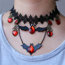Halloween Gothic Retro Lace Choker Collar Bib Necklace Charm Bat Pendant Jewelry