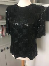 Jaeger Silk Black Sequin Bead Top Size 12