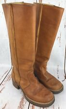 Vtg Womens Frye ? Campus Sz 8 ? Brown Leather Pull On Tall Riding Boots USA