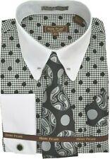 Mens Henri Picard White/Black Polka Dot Dress Shirt and Tie Set