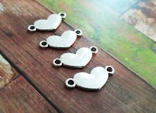 10 Heart Charms Connector Links Stamping Blanks Pendants 2 Hole Charms
