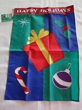 HAPPY HOLIDAYS CHRISTMAS ICONS Applique Garden FLAG 13 x 18  NEW