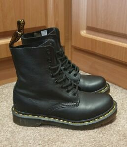 WORN ONCE!! Dr Martens 1460 SOFT Pascal Black Boots Virginia Size UK 3