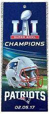 New England Patriots NFL Super Bowl LI Champions Game Ticket Plastic Sign