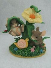 Fitz & Floyd Charming Tails Figurine Hangin Around 89/523 Mice Under Plant
