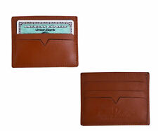 NEW SOFT REAL LEATHER SLIP SLEEVE WALLET BOTH SIDE CARD HOLDER ID BUSINESS CARD