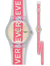 Swatch ETERNITY WATCH LW150 Analogue Silicone Red, Transparent