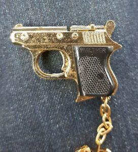 Walther Keychain Miniature Pistol 1.75 inches 920 Diecast Vintage NOS Brass Gold