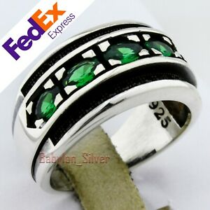 925 Sterling Silver Turkish Handmade Emerald Band Men's Luxury Ring All Sizes