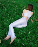 Women Sheer Long Pants Shiny Silky Bell Bottom Flare Trousers Stretch Leggings
