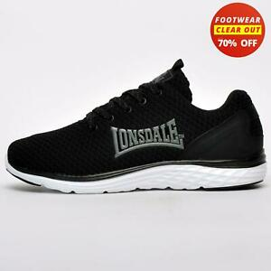 Lonsdale Silwick Ultraknit Mens Running Shoes Gym Fitness Workout Trainers Black