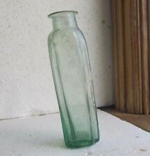 RARE GREEN OPEN PONTIL CRUDE SQUARE PUFF MEDICINE BOTTLE DUG IN 1840s PRIVY