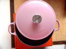 Le Creuset Cast Iron BLACK INTERIOR 22cm Marmite -Chiffon Pink -VERY RARE!!
