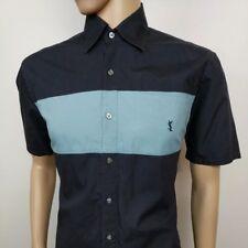 Yves Saint Laurent Mens Shirt Black Blue YSL Short Sleeve Size M , 15.5 RRP£295
