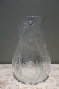 Vintage IVV Selezione Ice / Bark Textured Art Glass Vase - Large - Italy - Vgc