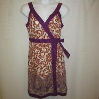 IZOD Boho Sundress sz 14 White, Magenta, Orange, & Pink 100% Cotton w/POCKETS