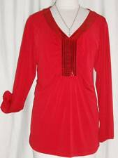 PLUS SIZE WOMENS FESTIVE RED BLOUSE EMBELLISHED SIZE 20W / 22W STRETCH AB128