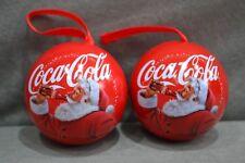 2x New 2018 Coca Cola Drinking Santa Christmas Tree Bauble Metal Tin Gift Ø6.5cm
