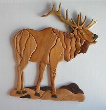 Standing Elk Intarsia Wood Art - Wood Decor Wall Hanging - NEW