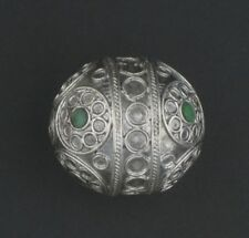 Jumbo Artisanal Enamel Inlaid Emerald Green Berber Bead Pendant 39mm Morocco