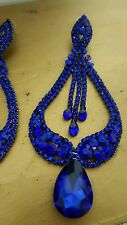 Big Royal blue CLIP ON  RHINESTONE CRYSTAL CHANDELIER TEARDROP PARTY EARRINGS