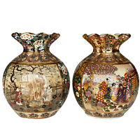 Vintage Chinese Satsuma Style Porcelain Moriage Vase - a Pair