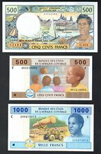 French Pacific 500 francs 2007 + 500 1000 Central African States 2002 (F,C) ...