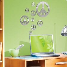 PEACE SIGNS MIRRORED wall stickers 9 decals light weight mirrors teen room decor