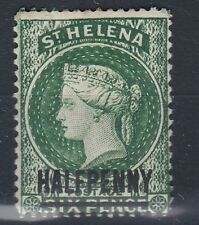1893 QV St HELENA HALFPENNY OVPT on 6d  WMK CROWN CA SG36 MM
